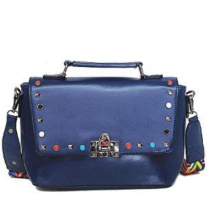 Bolsa de Mão Azul com Detalhes Coloridos