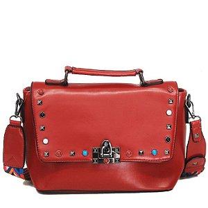 Bolsa de Mão Vermelha com Detalhes Coloridos