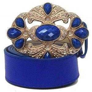 Cinto Feminino Azul e Fivela com Detalhe em Pedras
