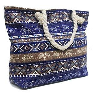 Bolsa em Tecido Azul Estampada