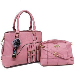 Kit Bolsa de Ombro com PomPom e Bolsa Transversal Pink