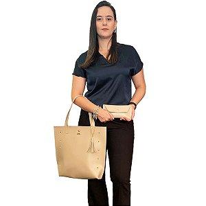Bolsa Shopper e Carteira Feminina Bege