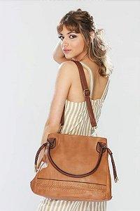 Bolsa Feminina Lisa com Detalhes em Strass Caramelo