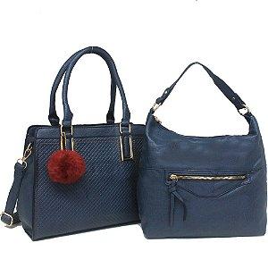 Kit Bolsas Femininas de Ombro e Transversal Azul