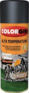Tinta Spray Alta Temperatura  Preto Fosco 300ml COLORGIN