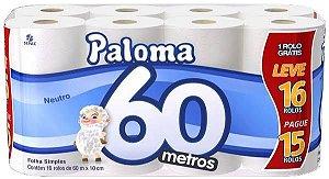 Papel Higiênico Folha Simples 16X04 60M Paloma
