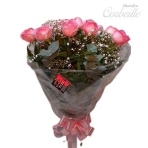 Buquê 12 rosas Cor de Rosa ou Pink