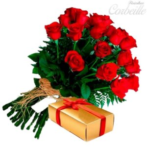 Buquê de 12 Rosas Vermelhas com uma Caixa de Bombons