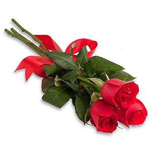 Ramalhete de 3 Rosas vermelhas