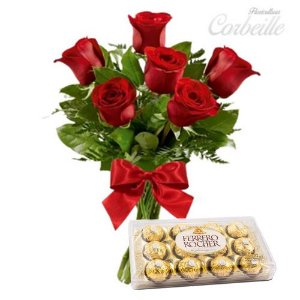 Ramalhete de 6 Rosas Vermelhas com Caixa de Ferrero Rocher 12 Unidades