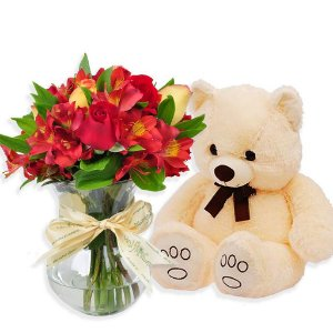 Rosas e Astromélia Vermelhas com Urso de Pelucia