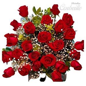 Buquê 24 Rosas vermelhas embaladas sofisticadamente