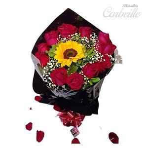 Buque 12 Rosas vermelhas com um girassol