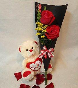 Ramalhete de 2 Rosas vermelhas com ursinho