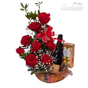 Cesta de Rosas com Espumante e Chocolate Ferrero Rocher 8 unidades
