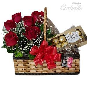 Cesta com 6 Rosas Vermelhas e Ferrero Rocher 8 Unidades