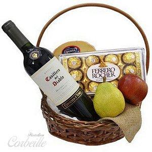 Cesta seleção especial com Frutas, Queijo, Vinho e Ferrero Rocher de 12 unidades