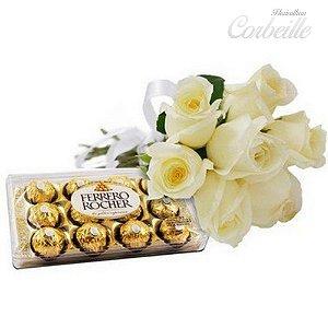 7 lindas rosas brancas com 12 bombons Ferrero Rocher