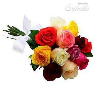 Buquê 7 rosas coloridas