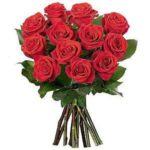 Buquê de 12 rosas colombianas vermelhas