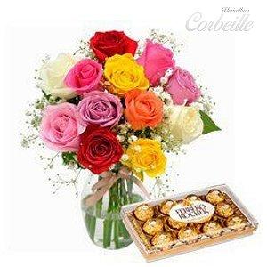 Rosas coloridas no vaso com Ferrero Rocher - 12 unidades