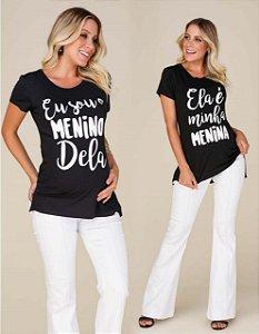 Camiseta Gestante Malha Funny Menina e Menino Emma Fiorezzi