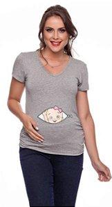 Camiseta Manga curta com Bebe Franzido Lateral Patrello