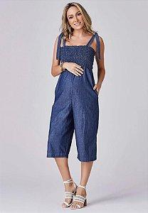 Macacão Gestante Jeans Fashion