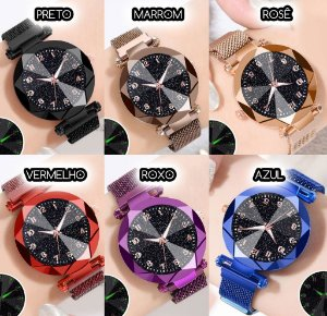 Kit 6 Relógios Diamante Numerado Estrelado