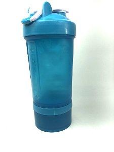 Coqueteleira academia c/ compartimento (Azul) - Clink
