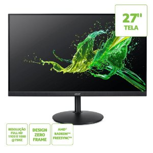 "Monitor Acer LED Full HD 27"" CB272, VGA 60Hz, HDMI 75Hz Bivolt"