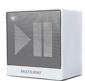 Caixa Bluetooth Multilaser SP278 8W, Branca, Entrada Auxiliar P2, Função Hands Free, Bateria de Longa Duração.
