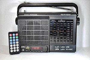 Rádio Portátil Motobras RM-PU32AC 7 Faixas, Bluetooth, AM/FM, USB, Entrada SD Card, Controle Remoto.