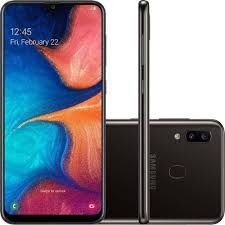 "Smartphone Samsung A20, (ZF), Android 9.0, Dual Chip, Câmera traseira Dupla13 MP + 5 MP, Frontal 8 MP, 6.4"", 32 GB, RAM 3GB, Rede 4G, Preto"