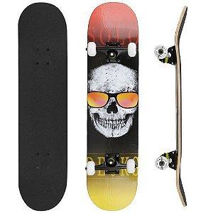 "Skate Montado Solo Deck's Profissional Skull Glass 8"""
