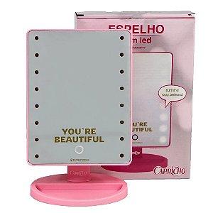 Espelho C/LED Youre Beautiful Rosa