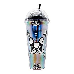Copo Canudo 750ml Holográfico Tampa Redonda Bulldog