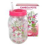 Caneca Pote C/Canudo Retrátil 500ml Love Summer