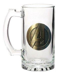 Caneca C/Brasão de Metal 450ml Avengers
