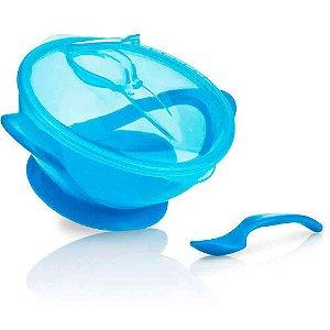 Tigelinha Com Ventosa e colher - Cor Azul - Nuby