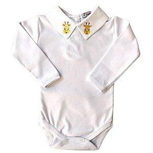 Body Luxo Infantil Gola Bordada Girafa - Algodão Egipcio