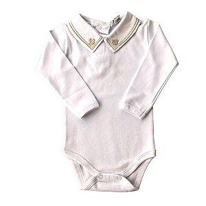 """Body Branco Luxo Bebê Menino Gola Bordada Urso Com Detalhes em Verde E Dourado """"Algodão Egípcio"""""""