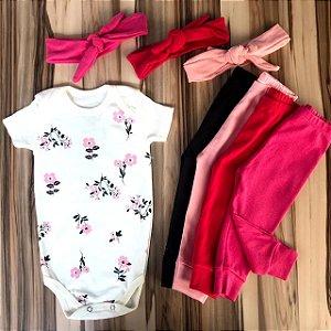 Kit Conjunto Bebê Menina 3 peças - Bodies, Calça E Laço - Florzinha