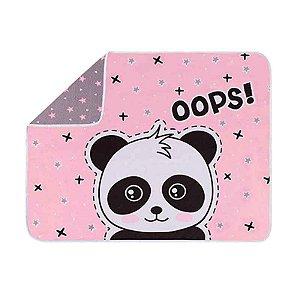 Manta de Bebê em Malha - Estampa Panda Rosa - Colibri