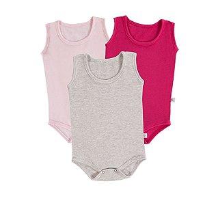 Kit Bebê 3 Body Regata - Pink/Rosa/Mescla - Colibri