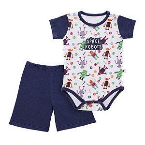 Conjunto de Bebê Body e Shorts de Bebê - Robô - Marinho - Colibri