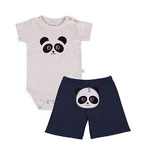 Conjunto de Bebê Bermuda e Body de Bebê - Panda - Marinho - Colibri