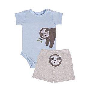 Conjunto de Bebê Shorts e Body de Bebê - Bicho Preguiça - Azul - Colibri