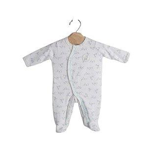 """Macacão Longo Bebê Zebrinha """"Verde"""" em Algodão Egípcio e Proteção UV+50 - Piu Piu"""