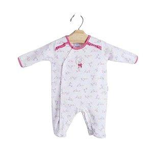 """Macacão Longo Bebê Zebrinha """"Off White Rosê"""" em Algodão Egípcio e Proteção UV+50 - Piu Piu"""